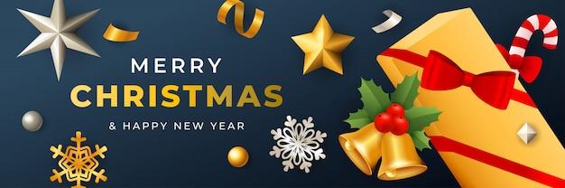 Diseño de banner de feliz navidad con caja de regalo cubierta con cinta