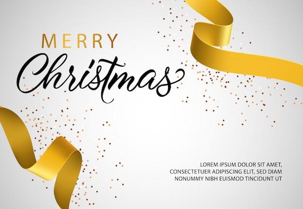 Diseño de banner de feliz navidad con cinta de oro