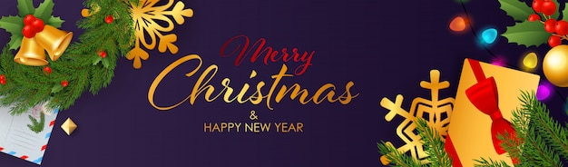 Diseño de banner de feliz navidad y feliz año nuevo con regalos