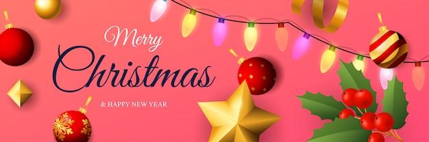 Diseño de banner de feliz navidad con luces de colores.