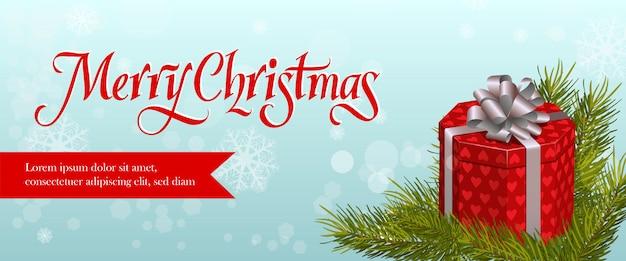 Diseño de banner de feliz navidad. rama de abeto