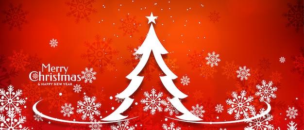Diseño de banner de festival de feliz navidad con árbol de brillo