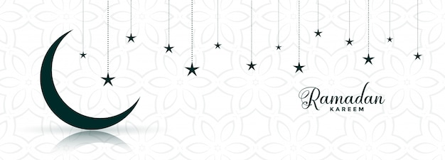Diseño de banner de festival de luna y estrella de ramadán kareem