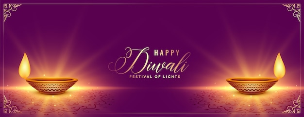 Diseño de banner festival púrpura brillante feliz diwali