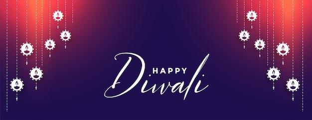 Diseño de banner de festival que brilla intensamente feliz diwali