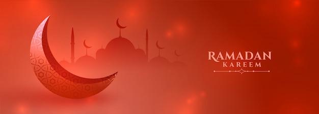 Diseño de banner de festival de temporada rojo ramadan kareem