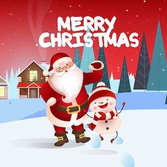 Diseño de banner festivo de feliz navidad con santa y muñeco de nieve