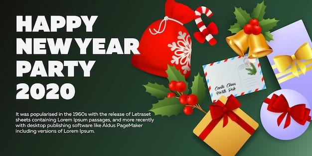 Diseño de banner de fiesta de año nuevo en fondo verde