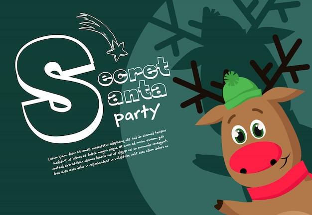 Diseño de banner de fiesta de santa secreto con ciervos amigables en sombrero