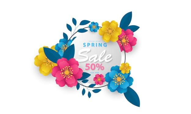 Diseño de banner flor fondo de primavera con hermosa.