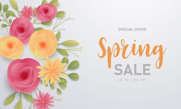 Diseño de banner flor fondo de venta de primavera con hermoso