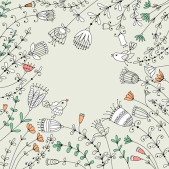 Diseño de banner con flores, pájaros y lugar para texto.