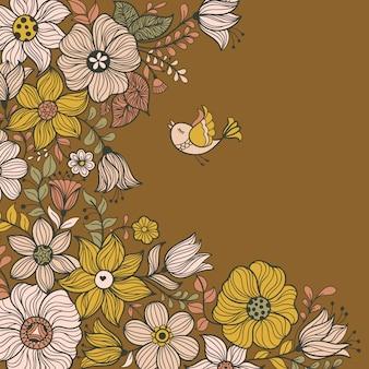 Diseño de banner con flores.