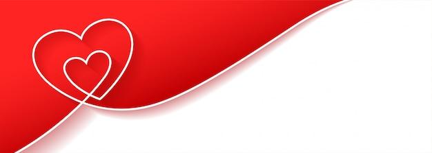 Diseño de banner de fondo de corazón creativo con espacio de texto