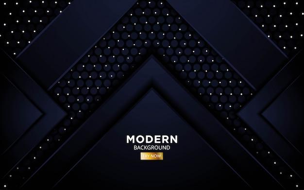 Diseño de banner de fondo negro premium abstracto moderno moderno en puntos y textura de patrón de círculo.