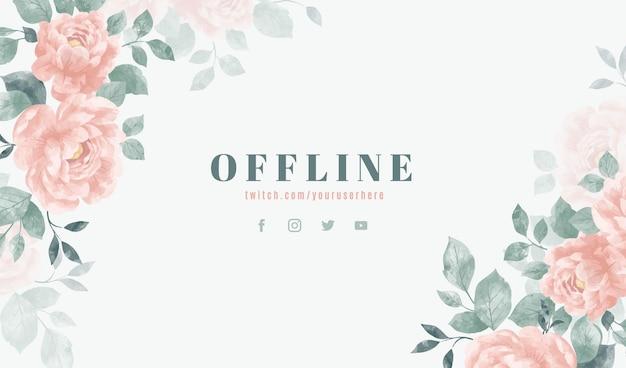 Diseño de banner fuera de línea floral estilo acuarela