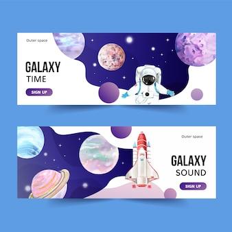 Diseño de banner de galaxia con planeta, cohete, ilustración acuarela de astronauta.