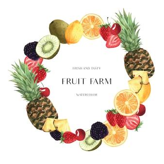 Diseño de banner de guirnaldas de frutas de temporada tropical, fruta fresca de naranja y un marco sabroso