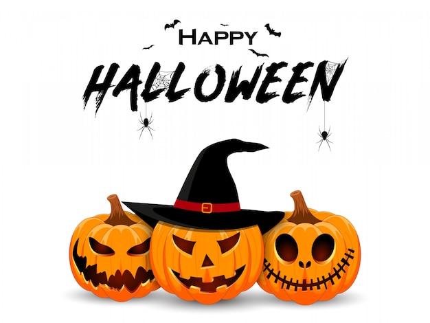 Diseño de banner de halloween con sonriente personaje de calabaza