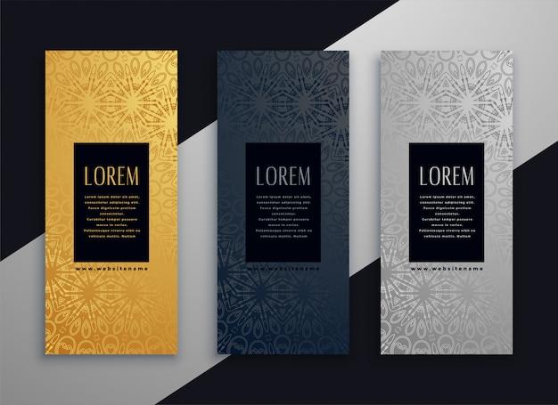 Diseño de banner hermoso vertical de lujo