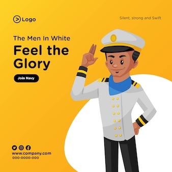 Diseño de banner de hombre de blanco siente la gloria en estilo de dibujos animados
