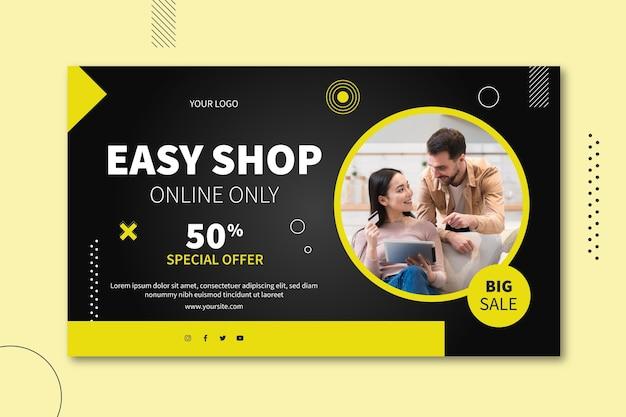 Diseño de banner horizontal de venta online.