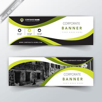 Diseño de banner horizontal verde corporativo