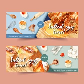 Diseño de banner de huevo salado con batidor, rodillo, cuchara ilustración acuarela.