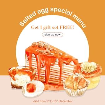 Diseño de banner de huevo salado con crema pastelera, crepe pastel ilustración acuarela.