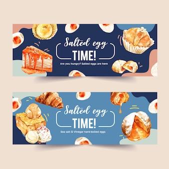 Diseño de banner de huevo salado con croissant, pastel de crepe, tostadas ilustración acuarela.