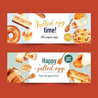 Diseño de banner de huevo salado con cuchara, pastel de queso, pan ilustración acuarela.