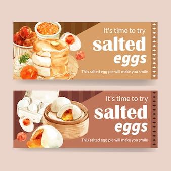 Diseño de banner de huevo salado con mantequilla, miel, panqueque ilustración acuarela.
