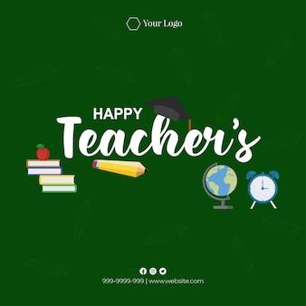 Diseño de banner de ilustración de estilo de dibujos animados feliz día del maestro