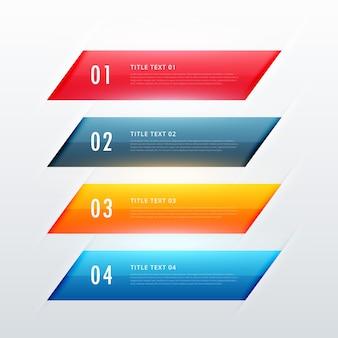 Diseño de banner infografía colorido cuatro pasos