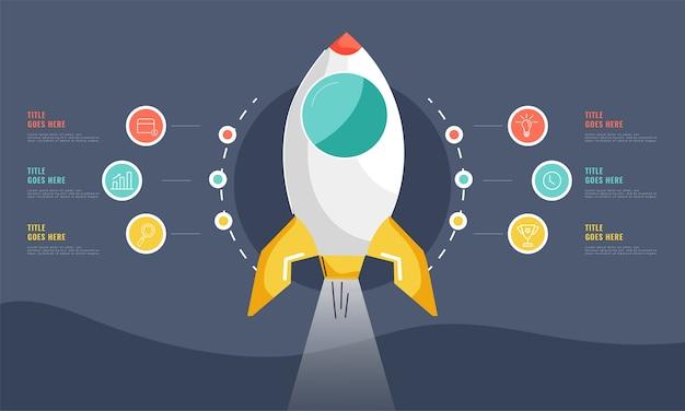 Diseño de banner de infografía de inicio de negocios