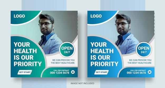 Diseño de banner de instragam para publicación en redes sociales de atención médica médica