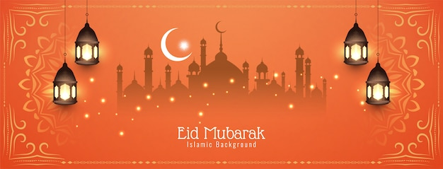 Diseño de banner islámico decorativo eid mubarak