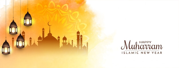 Diseño de banner islámico happy muharram amarillo brillante