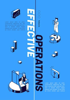 Diseño de banner isométrico de operación efectiva.