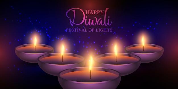 Diseño de banner de lámparas diwali