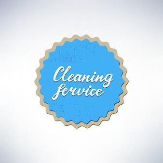 Diseño de banner con letras servicio de limpieza. ilustración vectorial