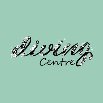 Diseño de banner con lettering diving center. ilustración vectorial