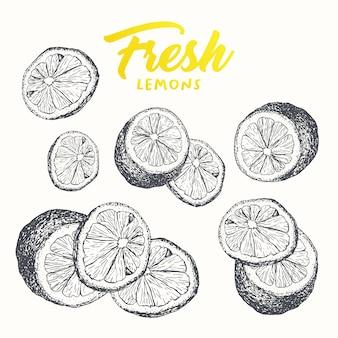 Diseño de banner de limones frescos.