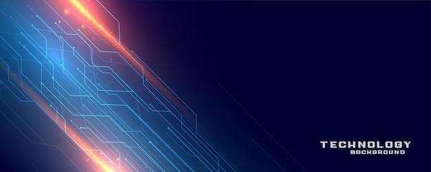 Diseño de banner de líneas de circuito de tecnología digital.