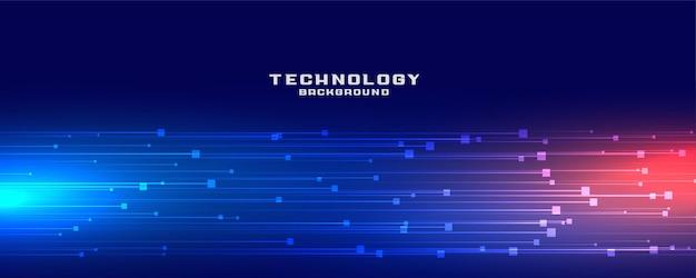 Diseño de banner de líneas de tecnología dinámica.