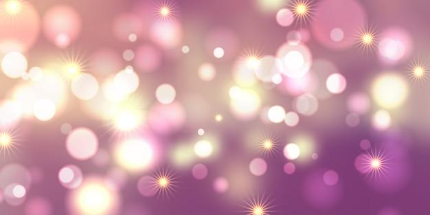 Diseño de banner de luces y estrellas de bokeh