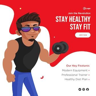 Diseño de banner de mantenerse saludable y mantenerse en forma.
