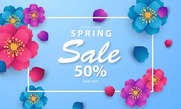 Diseño de banner marco flor fondo de primavera con hermosa.