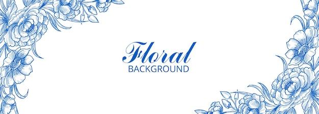 Diseño de banner de marco floral decorativo moderno