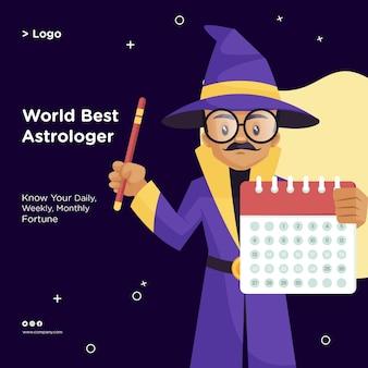 Diseño de banner del mejor estilo de dibujos animados de astrólogo del mundo.
